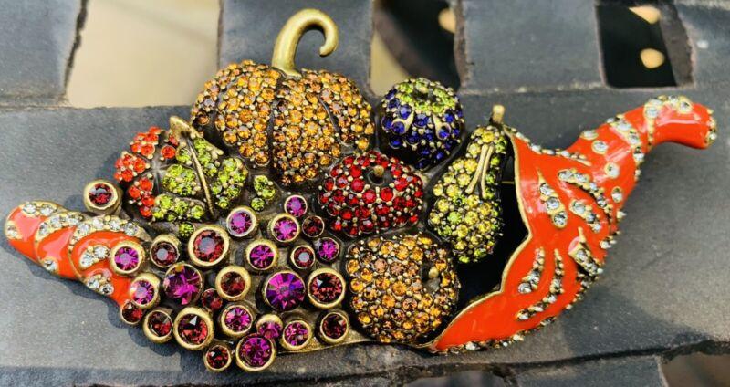 HEIDI DAUS Harvest Cornucopia Swarovski crystal encrusted & enamel pin brooch