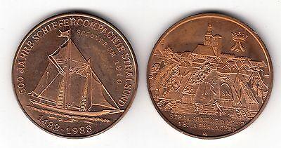 AV-VD Medaille Stralsund Schiffe 500 Jahre Schiffercompagnie Schoner 1810 (KT23