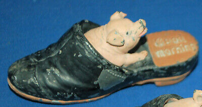 An amusing pig in slipper figure, antique painted cast metal, Good Morning!
