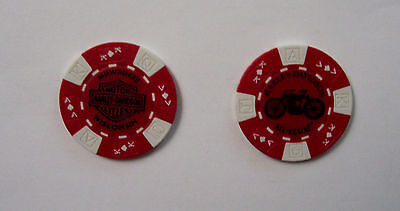 HARLEY-DAVIDSON Museum Poker Chip - Red - New