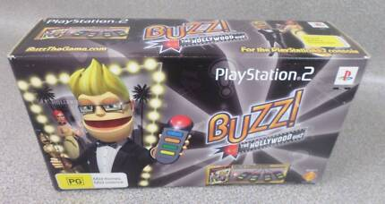 Playstation 2 PS2 BUZZ The Hollywood Quiz Game + Controllers