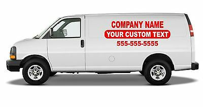 Business Van Lettering Sign Vinyl Decal Stickers Set Of 2 28x75