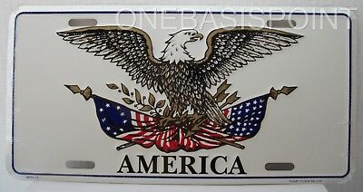 USA Flag America Eagle License Plate Aluminum Embossed Sign Car Tag American US - Flag Embossed License Plate