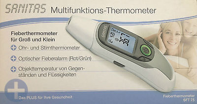 SANITAS SFT 75 Multifunktions-Thermometer Fieberthermometer Ohr und Stirn Thermo