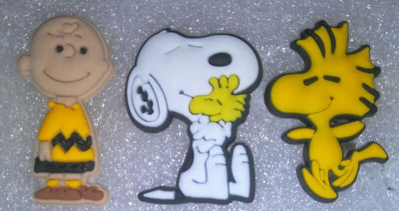 Snoopy, Charlie Brown & Woodstock! 3 Diff PCS! Shoe Charms, for Crocs, Clogs, Br