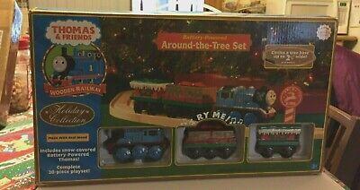 Thomas & Friends Wooden Railway Train Tank - Around the Tree Christmas Set w Box