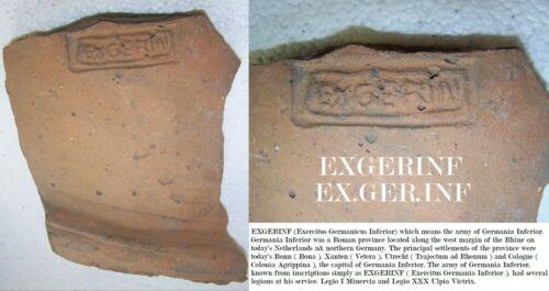 Legionary Brick tile EXGERINF Exercitus Germanicus Inferior Legio I Minervia XXX