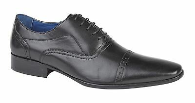 Eyelet Lace Up Mens Dress (Mens Shoes Leather Lace Up 5 Eyelet Punched Capped Oxford Formal Dress Size)