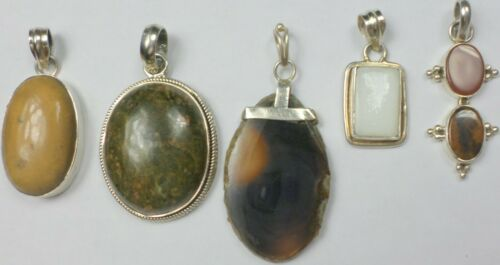 5 Vintage 925 Sterling Silver Jasper Agate Carnelian MOP Stone Pendant 60 Grams