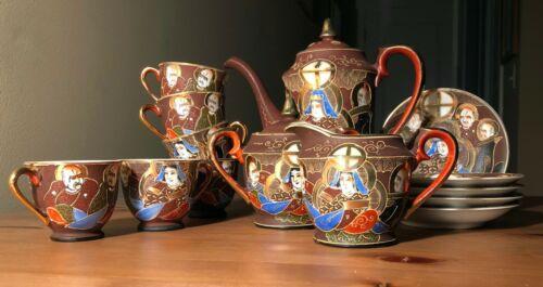 bone china tea set rare victora service japan god fortune bishamonten benzaiten