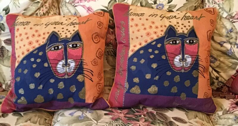 Pair Laurel Burch Azul Feline Blue Feline Cat Decorative Throw Tapestry Pillows
