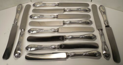 12-Karl Kaltenbach & Sohne-Rococo Pattern-Silver Plated-Knives-with Monogram