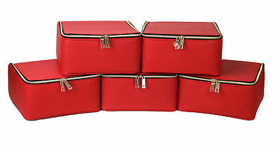 Decorative Boxes Wholesale (New! Wholesale Lot of 5 X Estee Lauder Red Makeup Cosmetic Bag Train Case)