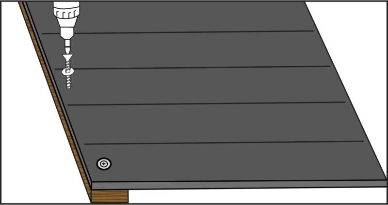 Bild 1 : Wandschutzmatte MR11 zunächst an Brett 4 befstigen