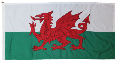 Welsh Wales Dragon flag MoD Ddraig Goch sewn 5x3ft size outdoor rope toggled UK