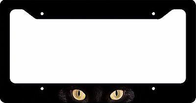 Cat Eye License Plate Frame - LICENSE PLATE FRAME  BLACK CAT EYES CUSTOM CAR TAG