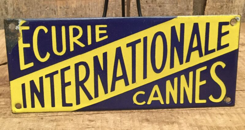 Early Vintage French 'Ecurie Internationale Cannes' Porcelain Horse Stable Sign