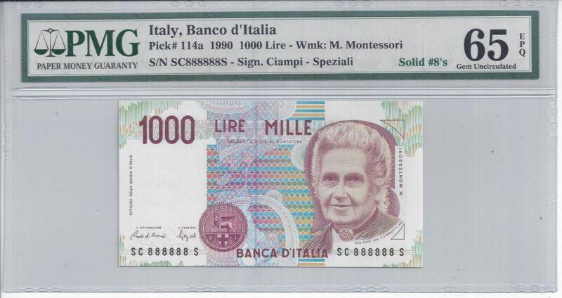 1990 ITALY 1000 LIRE MILLE # 888888 PMG-65 GEM UNC EPQ SOLID 8