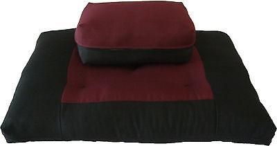 Burgundy Black Zabuton Zafu, Yoga Meditation Relaxation Cushions, Sitting Mats