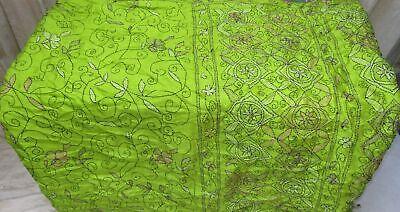 C SILK BLEND Antique Vintage Sari Saree Fabric 4yd ZZ4 369 Green NEEDLEWORK RARE