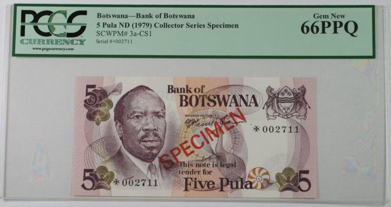 (1979) Botswana 5 Pula Specimen Note SCWPM# 3a-CS1 PCGS 66 PPQ Gem New