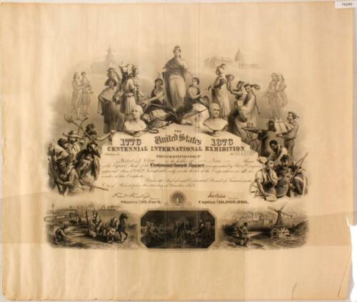 1876 CENTENNIAL INTERNATIONAL EXHIBITION ENGRAVED STOCK CERTIFICATE PHILADELPHIA
