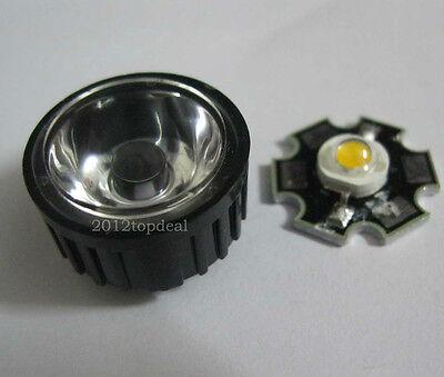 10pcs 3w High Power Warm White Led Light Emitter W 20mm Heatsink 45 Led Lens
