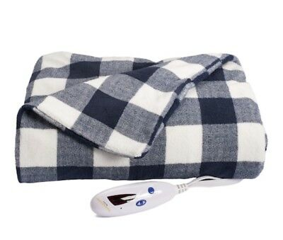 NEW Biddeford Navy Check MICRO PLUSH Electric Heated Throw Blanket