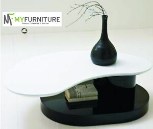 Teardrop Coffee Table White and Black High Gloss