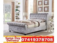 DOUBLE SLEIGH BED WITH MEMORY FOAM