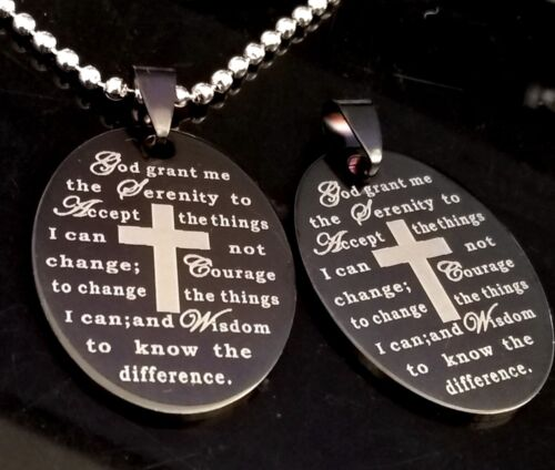 Bulk lot 50pcs Jesus SERENITY PRAYER Stainless Steel Pendant Necklaces W/Chains