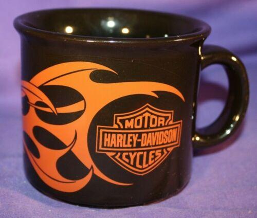 Harley Davidson Mug Black with Orange Flames Logo