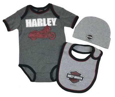 Harley-Davidson Baby Boys' 3-Piece Newborn Creeper Set w/ Hat & Bib, Gray (6/9M) Harley Boys 3 Piece