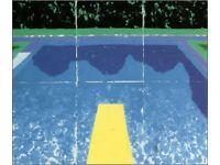 'Pool With Three Blues' Framed Print by David Hockney