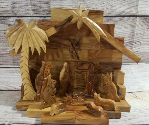 Handcarved One Piece Wooden Nativity Set Creche Christmas Holiday