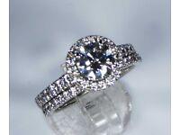 GIA Certified 18k White gold Platinum Diamond Engagement Ring