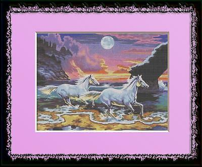 WHITE HORSES AT SUNSET~DELICA BEAD PEYOTE PATTERN ONLY
