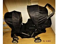 black double pram ,for baby nd toddler or 2 toddlers , graco in good condition and working order