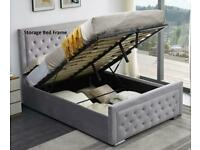 Plush Velvet Heaven Ottoman Storage Bed Frame in Grey Color
