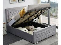 NEW DOUBLE SIZE PLUSH VELVET HEAVEN OTTOMAN STORAGE BED FRAME w OPT MATTRESS-ORDER NOW