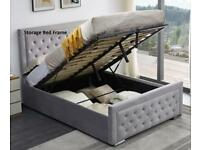 Lowest Budget Range-Plush Velvet Heaven Ottoman Storage Bed Frame in Grey Color