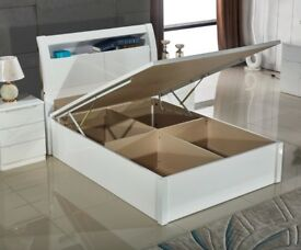 BRAND NEW WHITE HIGH GLOSS WOODEN OTTOMAN STORAGE BED FRAME GAS LIFT UP IN SINGLE/DOUBLE/KINGSIZE