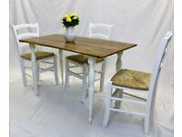 """Solid Reclaimed Wood Farmhouse Table in """"Off White"""""""