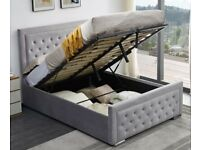 ✔️Imported Furniture✔️DOUBLE SIZE PLUSH VELVET HEAVEN OTTOMAN STORAGE BED FRAME w OPT MATTRESS-
