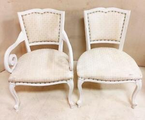Pair Vintage White His And Hers French Provincial Chairs With Miniature Print Fabric And Green Brass Tacks