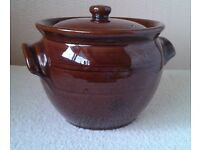 Vintage 70s Brown Earthenware Stockpot/CasserolePot wth Lid