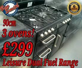 Leisure Range Cooker Dual Fuel 90cm Black