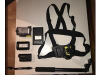 Sony HDR-AS15 Action Cam + waterproof case, battery charger, 2 batteries, chest mount, selfie stick