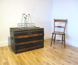 Vintage Metal-bound Steamer Trunk / Coffee Table