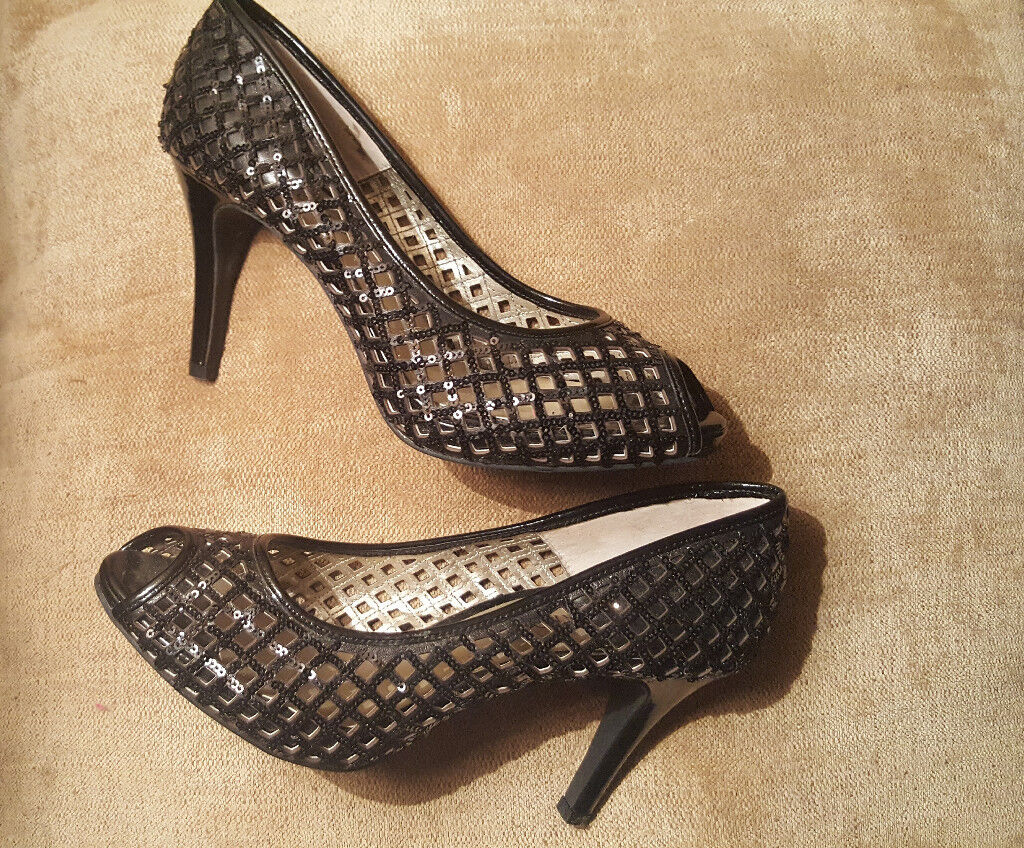 new black sequin evening shoes